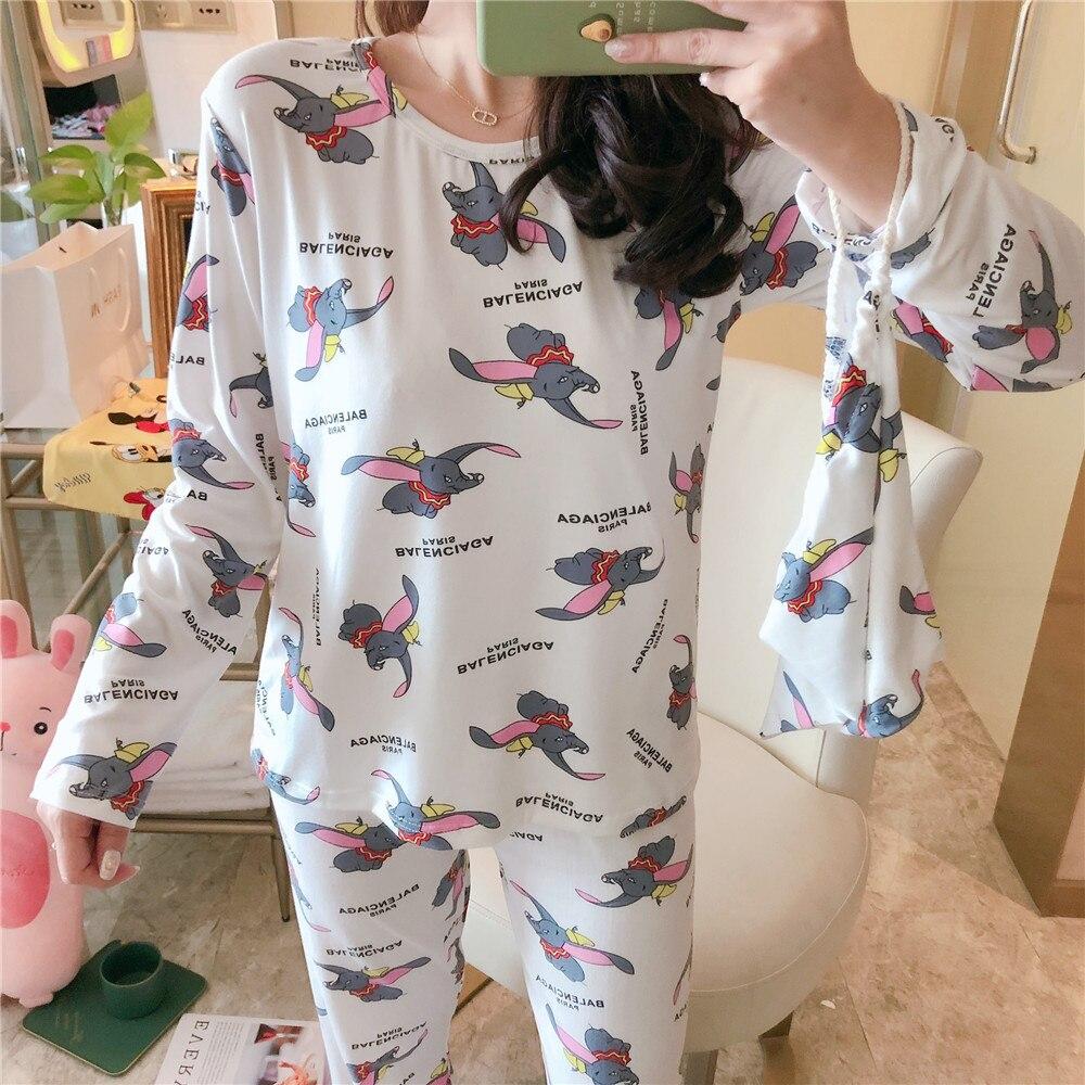 Pajamas Women's Spring And Autumn Hot Selling Korean-style Cartoon Dumbo Long Sleeve Storage Bag Three-piece Set Low Price Home