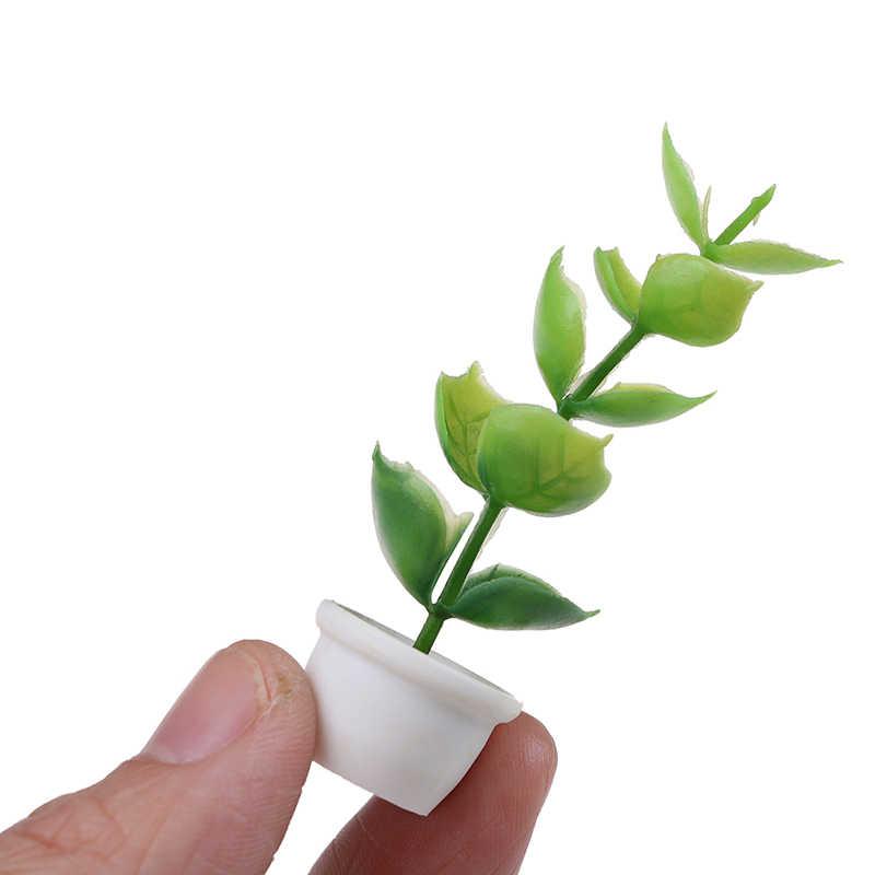 สีเขียว Miniature อุปกรณ์เสริม MINI ต้นไม้พลาสติก Potted จำลองพืชของเล่นสำหรับ 1:12 บ้านตุ๊กตาตกแต่ง