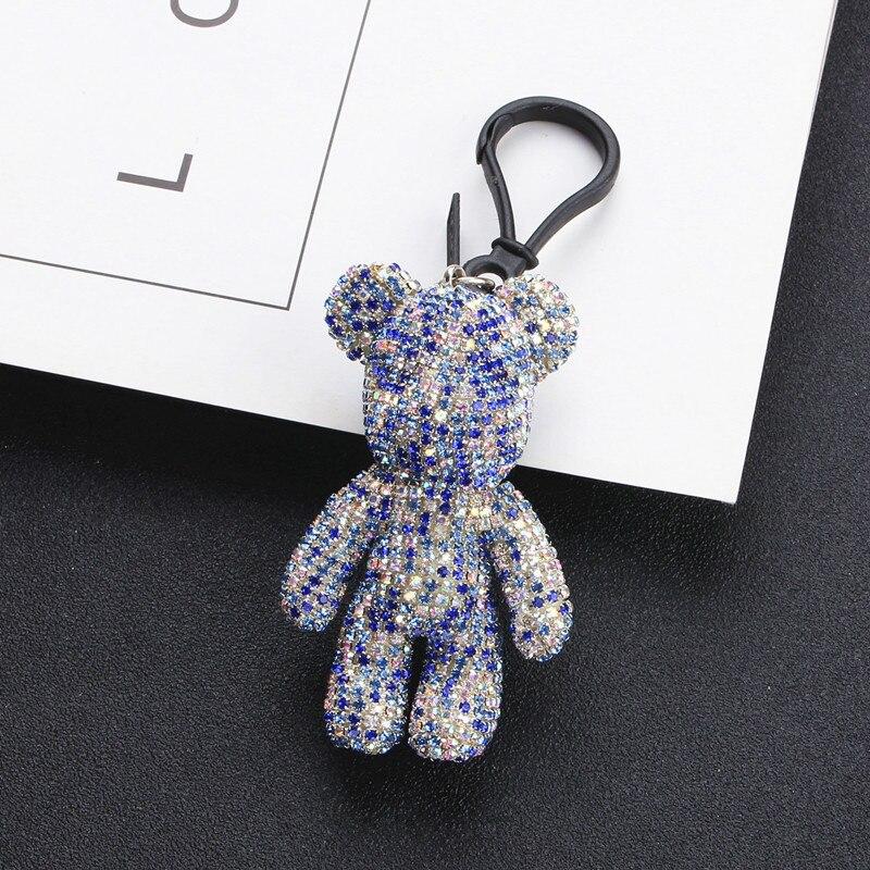 2019 Cartoon Crystal Bear Key chain Cute Handmade DIY Crystal Bomb Bear Keychains Female Bag Car Pendant Accessories Keyring in Key Chains from Jewelry Accessories