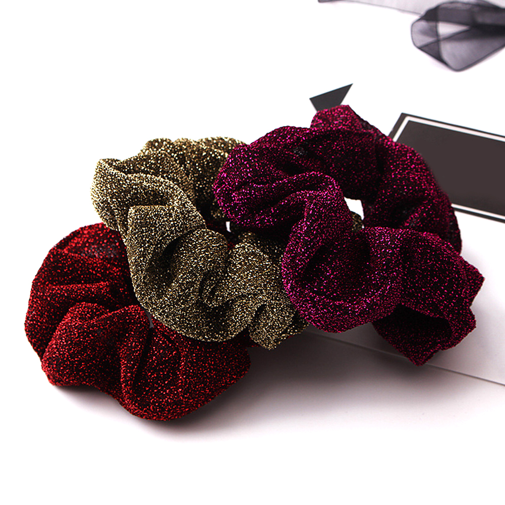 Hair Accessories Glitter Hair Scrunchies Women Hairbands Shining Metalic Fabric Ponytail Holder Gum For Hair Rope Rubber Band