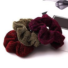 Hair Accessories Glitter Hair Scrunchies Women Hairbands Shining Metalic Fabric Ponytail Holder Gum For Hair Rope Rubber Band(China)