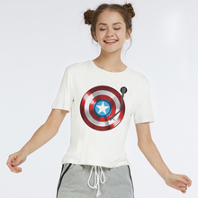 LUSLOS Captain America Gramophone Print Super Hero Women Tshirt Marvel Comics Superman Female Short Sleeve Summer Women T Shirt comics marvel super hero wallets leather card holder bags purse anime cartoon deadpool captain america gift kids short wallet