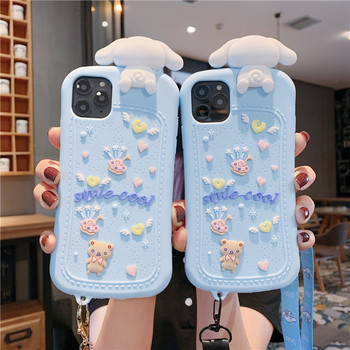For iphone 11 Pro cute 3D Cinnamoroll baby soft case For iphone XS Max X XR 6 7 8 Plus cartoon phone cover capa +pendant straps
