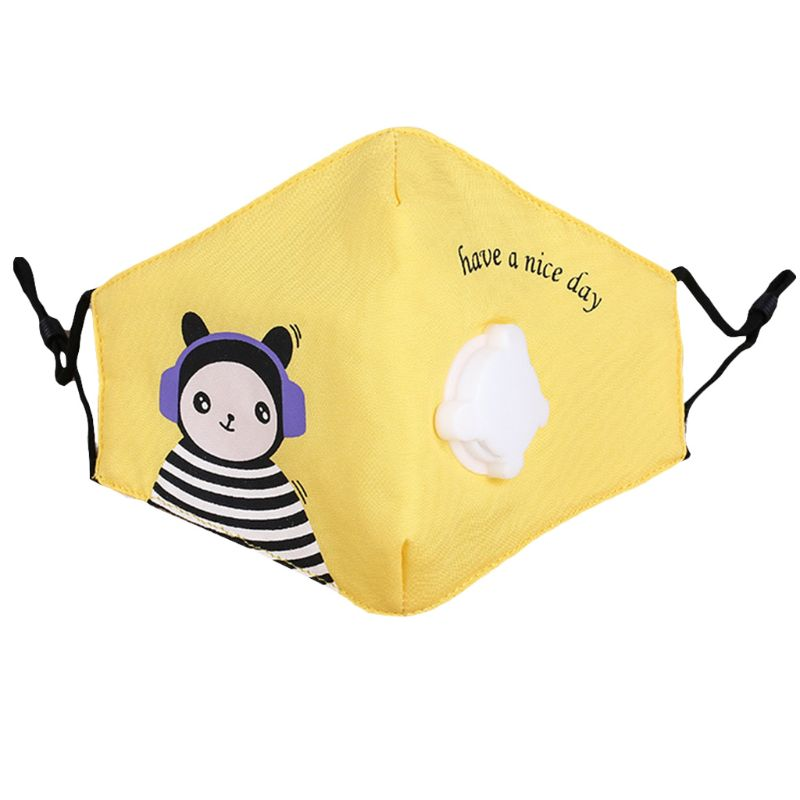 Children Kids Cotton Face Mouth Mask Cute Colorful Cartoon Printed PM2.5 Dusproof Filter Respirator With Breath Valve