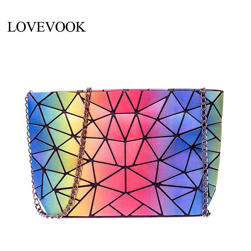 LOVEVOOK Crossbody Bags For Women 2019 Foldable Shoulder Messenger Bag With Retro Female Luxury Designer Geometric Bags Rainbow