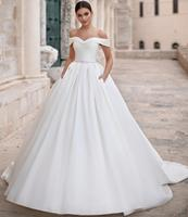 Simple New Satin Wedding Dress 2020 Sweetheart Chapel Train Beaded Belt Vestido de noiva Long Bride Dresses Genlinlik