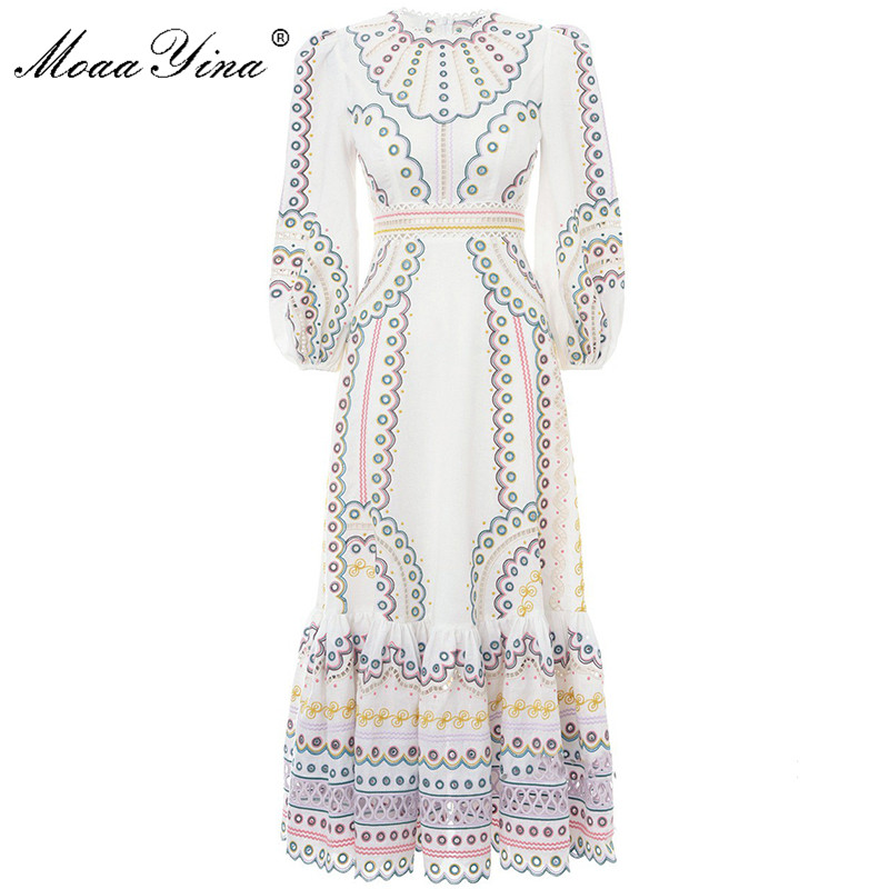 MoaaYina Fashion Runway Dress Spring Summer Women's Dress Long Sleeve Hollow Out Embroidery Vintage Dresses