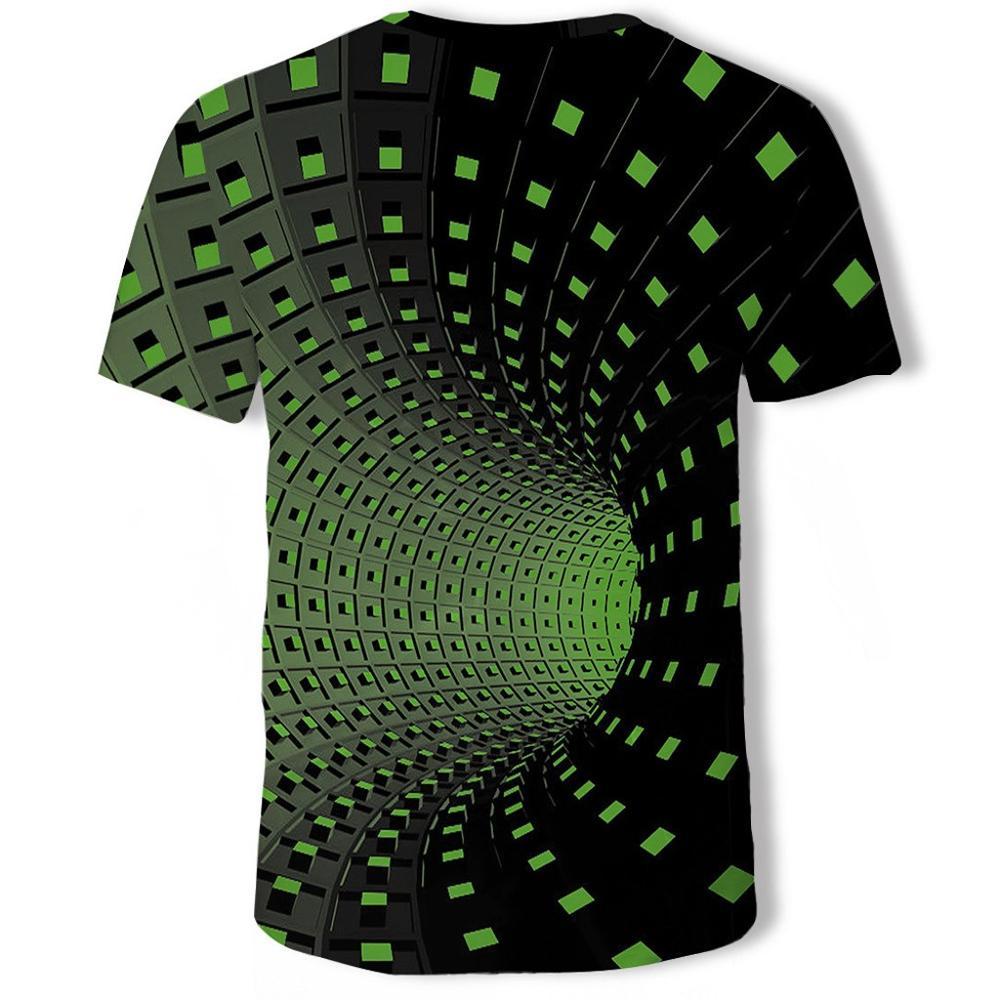 Летняя футболка с короткими рукавами с 3D принтом, Мужская футболка, модная цветная футболка с трехмерным принтом Vertigo Hypnotic, camiseta masculina - Цвет: Green