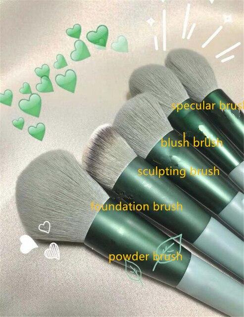 8/13PCS Makeup Brushes Pro Green Brush Set Powder Eyeshadow Blending Eyeliner Eyelash Eyebrow Make Up Beauty Cosmestic Brushes 3