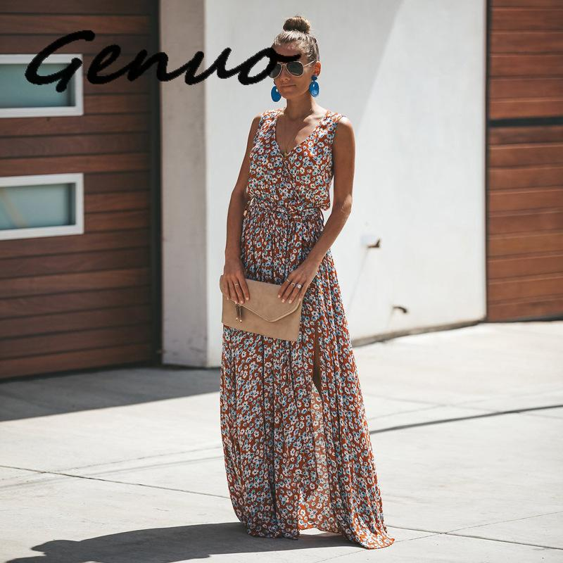 Summer 2019 Women Floral Dresses Plus Size Frocks Chic Boho Maxi Dresses For Women Beach Dress Tunic Long Casual Womens Clothing