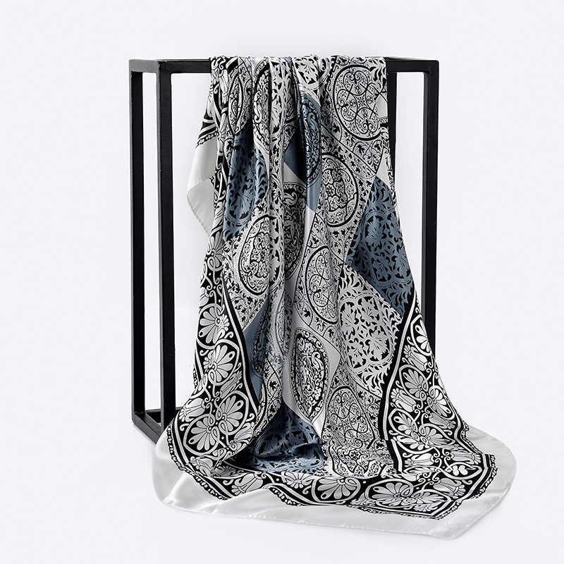Raso di seta Fazzoletto Dei Capelli Delle Donne Sciarpa Rosa Hhaki Della Stampa di Modo Hijab Sciarpe 2019 Scialli Quadrati e Avvolge Sciarpe Per La Signora 90*90cm