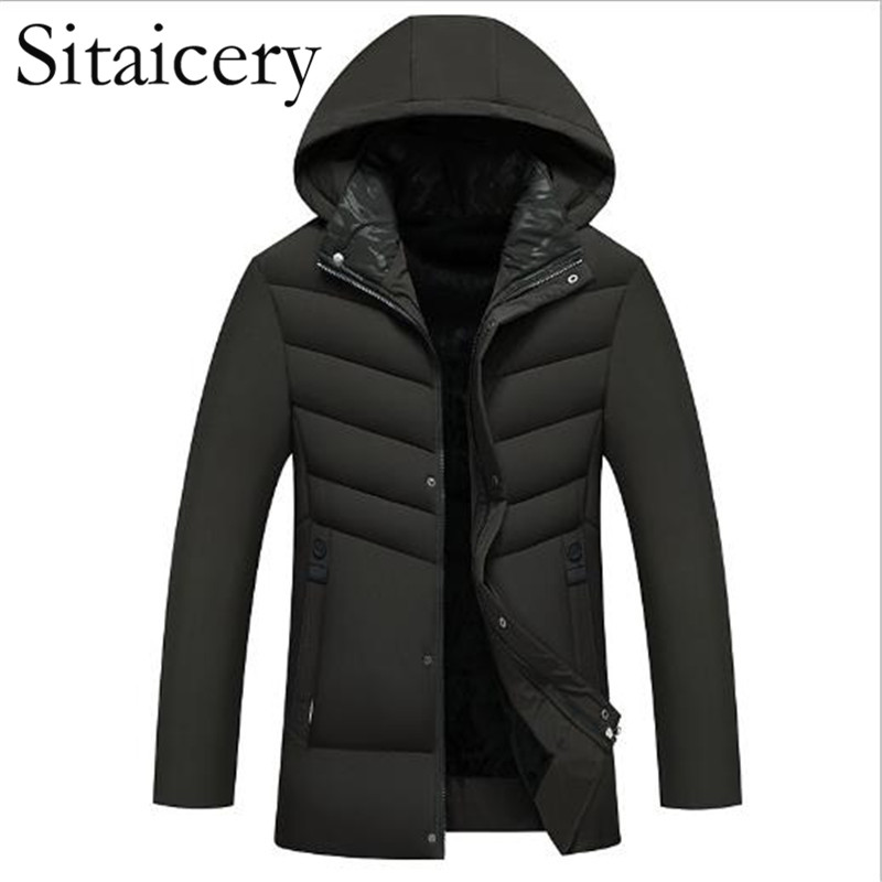 Sitaicery 5XL Winter Men's Jackets Thick Warm Hooded Padded Zipper Mens Coats Parka Casual Clothes Outwear For Husband Wholesale
