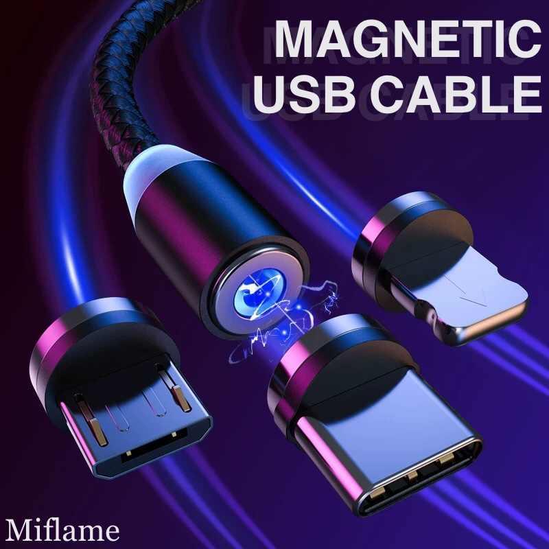 Magnetic Pengisian Cepat Kabel USB Tipe C Magnet Charger Data USB Kabel Micro USB untuk Iphone Huawei Xiaomi Samsung Kabel