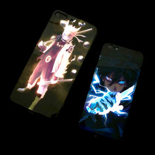 Funda de luz de llamada Naruto Sasuke para iPhone 11 8 7 6 6S Plus fundas LED de vidrio templado Coque Flash cubierta para iPhone XR XS MAX Funda(China)