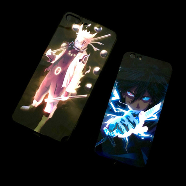 Naruto Sasuke Call Light LED Case For iPhone11 pro 8 7 6 6S Plus Cases Tempered Glass Coque Flash Cover For iPhoneXR X XS MAX