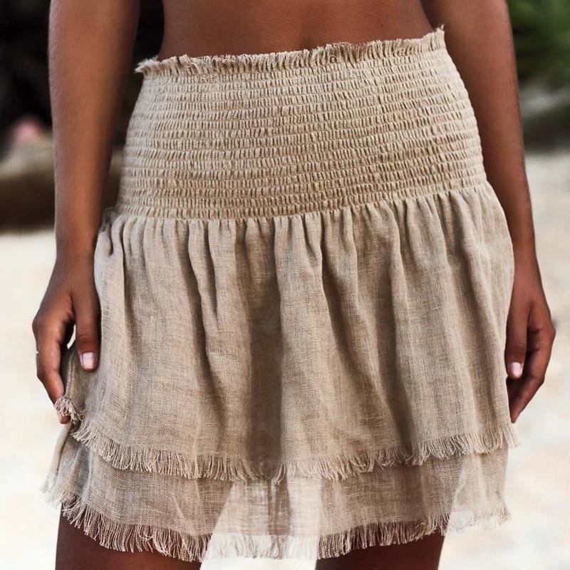 Fashion Loose Women Skirt Wrap Summer Holiday Sarong Swimming Beach Dress Wear Solid Short Bikini Casual Cover Up Skirt