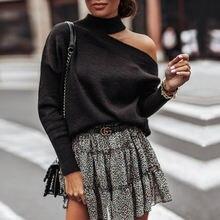 Женский свитер с лямкой на шее однотонный вязаный джемпер пуловер