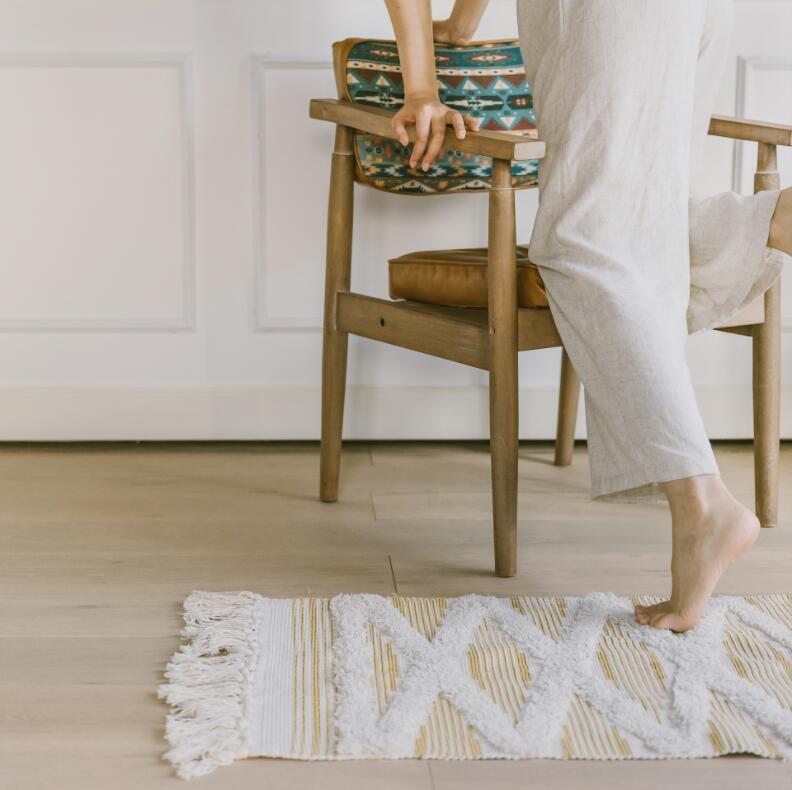 Géométrique rétro tapis coton lin canapé salon chambre à coucher artisanal glands tapis Table basse coureur Jacquard tapis de sol - 3