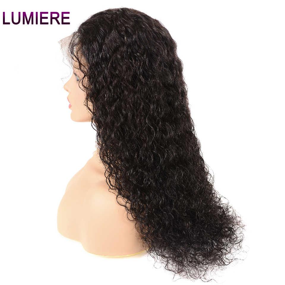Pelucas de pelo humano de la onda del agua brasileña del pelo Lumiere peluca Frontal del 360 del cordón con el pelo del bebé encaje no Remy Pre-desplumado peluca Natural negro