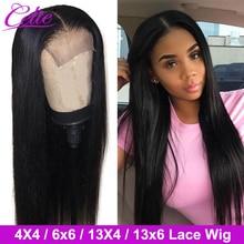 Celie saç 4x4 6x6 kapatma peruk dantel ön İnsan saç peruk 28 30 inç dantel ön peruk siyah kadınlar için 13x6 düz dantel ön peruk