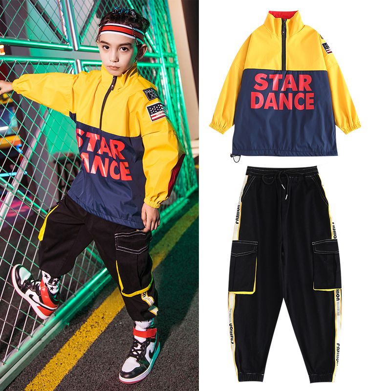 New Children'S Hip-Hop Dance Costumes For Boys Loose Sweater Hiphop Pants Kids Ballroom Dancing Performance Rave Clothes DQS3629
