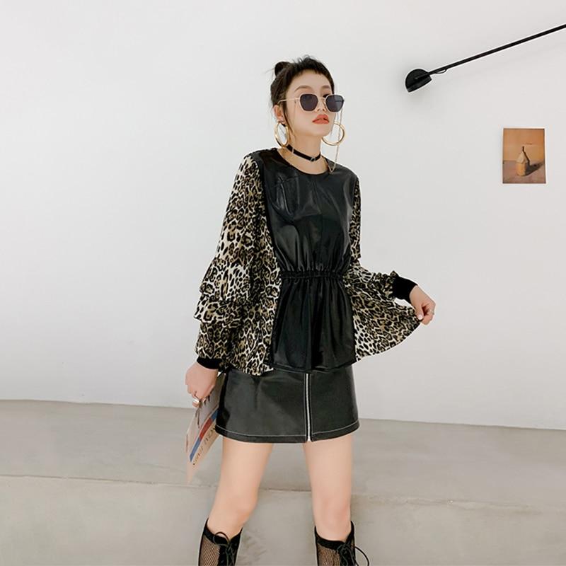 2019 Nova Outono Inverno Real da pele de Carneiro Couro Emendados Camisetas Chiffon Mulheres Leopard Manga Comprida Tees Ladies Magro Oversize Tops - 5