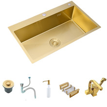 Ouro escovado kichen pia 304 pia da cozinha de aço inoxidável única bacia acima do contador ou udermount espessura pia da cozinha pias
