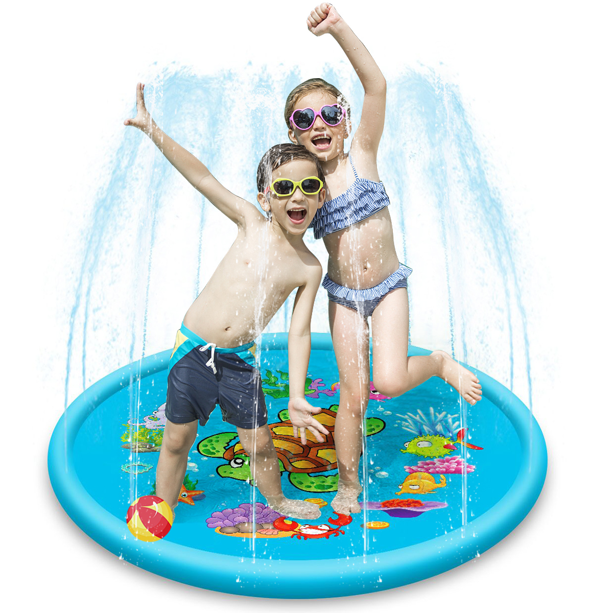43Inch/67Inch Sprinkler Splash Water Play Mat Outdoor Inflatable Kids Toddler Fountain Play Pad For Relaxation Party Gift