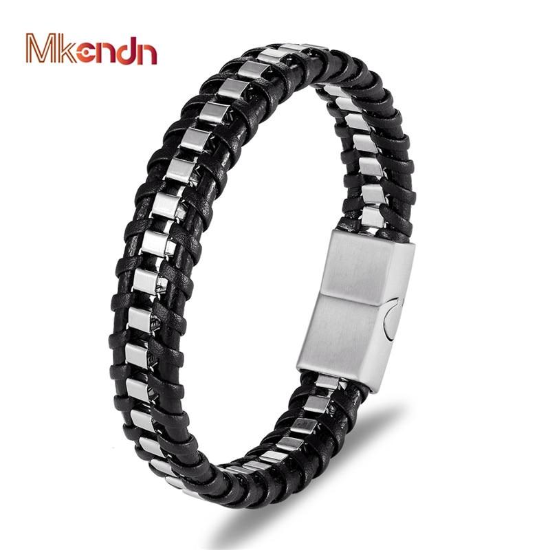 MKENDN Punk Bicycle Chain Titanium Stainless Steel Magnetic Buck Bracelet Men Multilayer Braid Genuine Leather Bracelet Pulseras