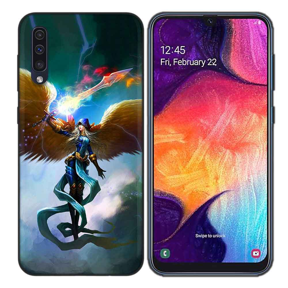 Blcak Soft Silicone Case Cover for Samsung Galaxy A6 A7 Plus 2018 A10 A20 A30 A40 A50 A60 A70 A80 A20E Fundas Capa Wing Angel Gi in Half wrapped Cases from Cellphones Telecommunications