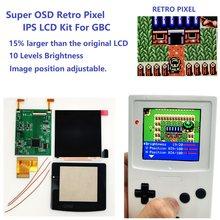 Super OSD wersja RETRO PIXEL IPS LCD zestaw do z ekranem jasność podświetlenia dla GameBoy kolor do zestawu GBC IPS LCD