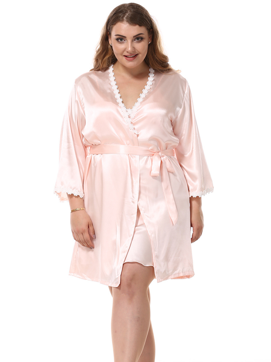 Large Size Women's Imitated Silk Fabric Nightgown Two-Piece Pajamas Sexy Lace Temptation Long Sleeve Silk Women's Robes