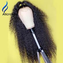 Alicrown Kinky Curly180% Density 13x4 Lace Front Human Hair Wigs Brazilian Human Hair Wigs For Women 4x4 Closure Wig Pre plucked