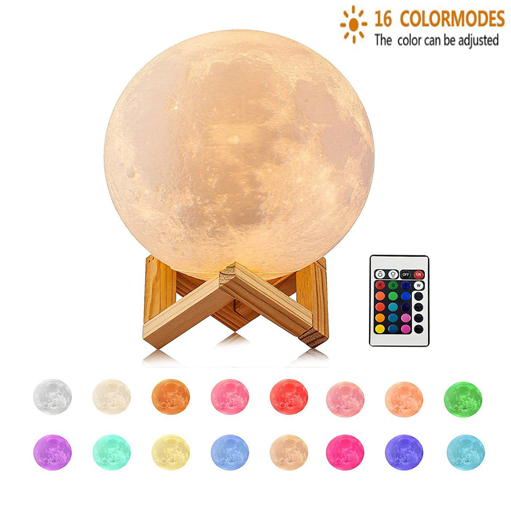 5.9 Inch /15CM Moon Novetly Lamp 16 Colors 3D LED Moon Night Light With Remote & Touch Control  USB Rechargeable Creative Gift