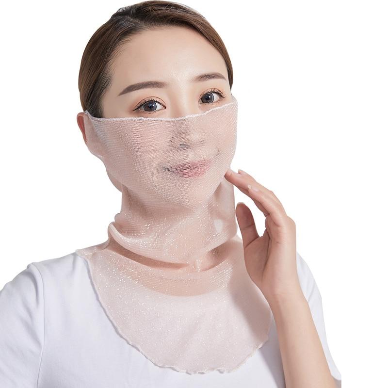Elifashion Mesh Gauze Ice Summer Sun Protection Facemask Women Scarf Outdoor Driving Cycling Masks Sunshade Neck Sunscreen Mask