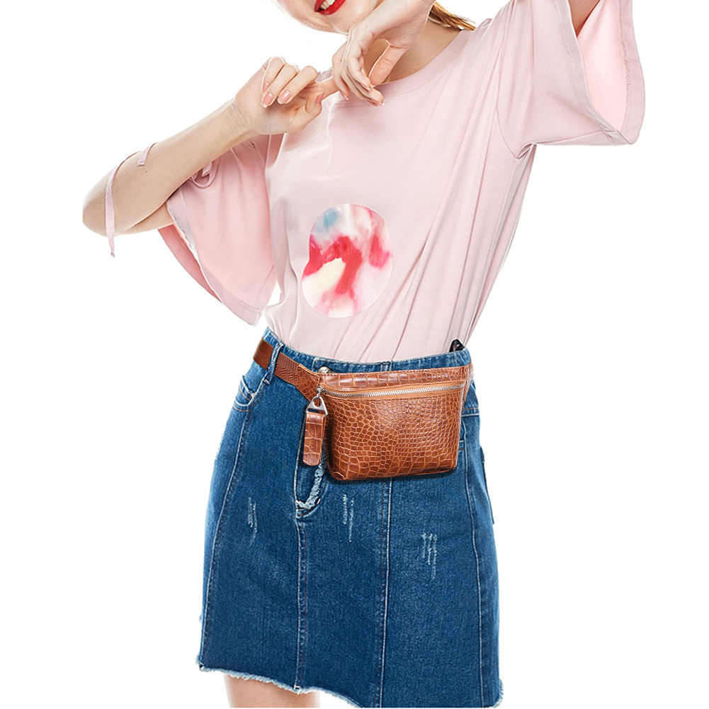Solid Waist Bag for Women Alligator Leather Fanny Pack Belt Wallet Phone Pouch Ladies Travel Bum Bags Streetwear Crossbody Flap