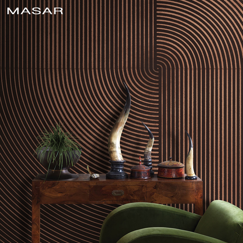 MASAR 46/5000  Original Art Murals Dense Lines Staggered Villa Corridors Living Room Background Wall Wallpaper Time