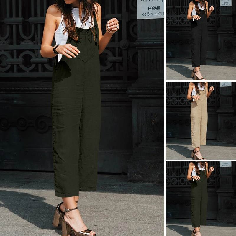 Celmia Summer Women Linen Jumpsuits Sleeveless Fashion Rompers Casual Loose Pockets Vintage Wide Leg Pants Plus Size Overalls 7