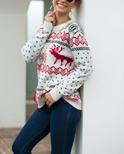 christmas sweater girl winter clothes 2019 knitted sweaters merry christmas plus size casual women snow deer pullover plus size merry christmas skew collar sweatshirt
