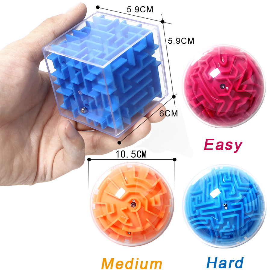 3D Magic Cube Maze Intellect Puzzle Ball Speed Logic Think Game Labyrinth Roll Magical Hand Balance Brain Teaser Learn Train Toy