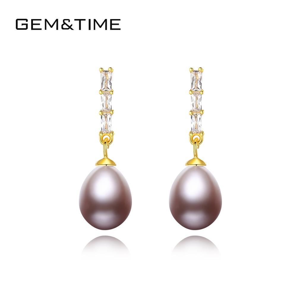 Gem&Time Natural Freashwater Pearls Dazzling CZ Drop Earrings 925 Sterling Silver Pearl Earrings Women Wedding Statement Jewelry(China)