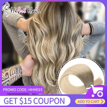 HiArt 2 5 g sztuka włosy na taśmie rozszerzenia w ludzkie włosy typu Remy Salon podwójne wyciągnąć taśma do włosów ludzkich włosów Balayage proste włosy 18 #8222 20 #8221 22 #8243 tanie i dobre opinie TAPE Remy włosy 20 pcs 100 Real Human Hair 100 Virgin Cuticle Remy Hair Salon Style Can Do Customer Made Double Drawn