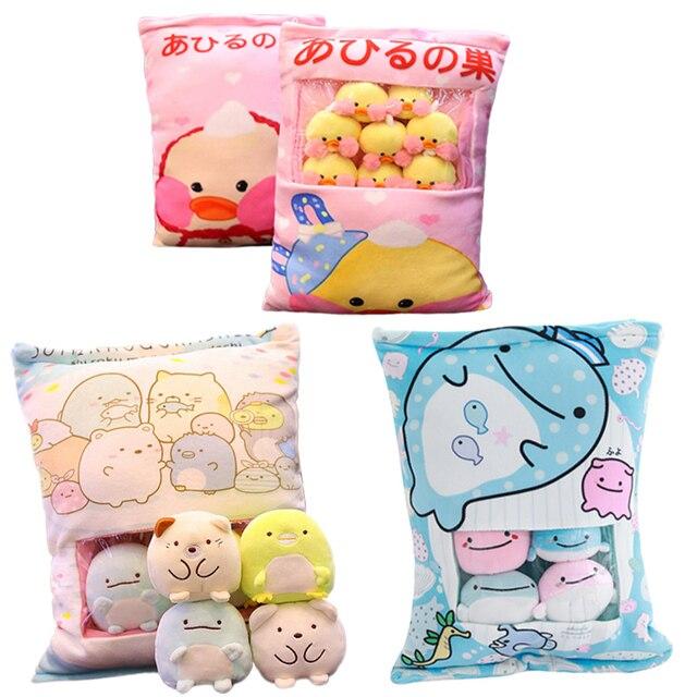 Verschiedene Arten EINE Tasche von Sumikko Gurashi & Hamster & Schwein & Kaninchen & Ente & Katzen & Whale Plüsch kissen Weiche Cartoon Tier Puppe Kinder Geschenk