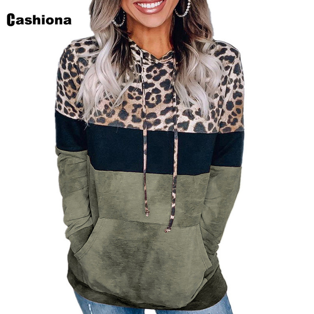 Cashiona 2020 Women Hoodie Sweatshirts Autumn Long Sleeve Patchwork Color Leopard Printed Tops Plus size Femme Casual Sweatshirt 2