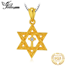 JewelryPalace 925 Sterling Silver Pendants Necklace Milgrain Star Of David Cubic Zirconia Pendant Gold For Women Without Chain jewelrypalace authentic 925 sterling silver pendants necklace crown wings honey bee pendant without chain cubic zirconia jewelry