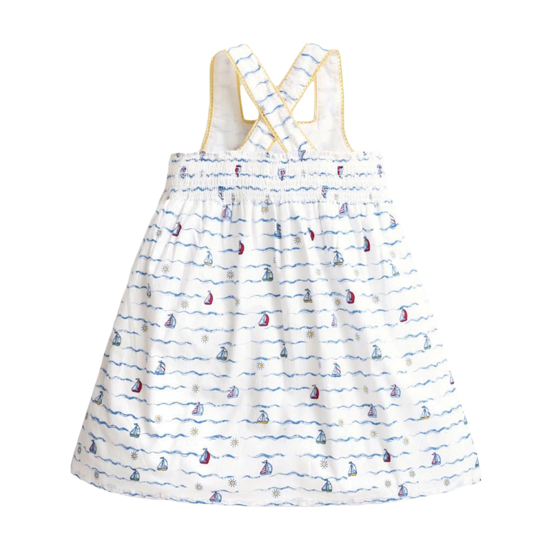 Little Maven New Summer Kids White Sailing Printed Suspenders Girls 2-7yrs Sleeveless Cotton Knitted Casual Sands Dresses