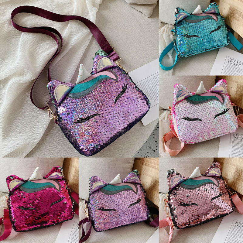2019 Brand Fashion Unicorn Handbags For Girls Travel Women Cartoon Printing Shoulder Bags Sequins Leather Luxury Crossbody Bag