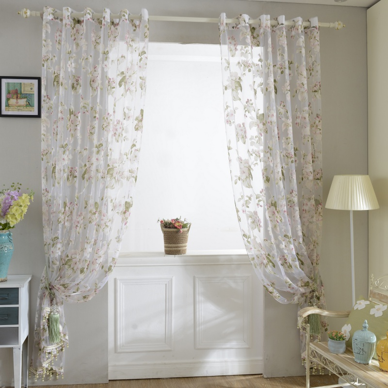 #<font><b>82018</b></font> Creative 1x2M Door Sheer Voile Window Curtain Panel Drape Room Floral Tulle Scarfs Valances CM image