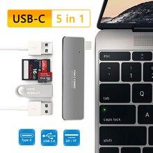 USBC ハブで 5 1 タイプ C に 3 ポート USB3.0 TF SD カードリーダー USB C タイプ c ドックステーションラップトップアダプター macbook pro の 2017 2018