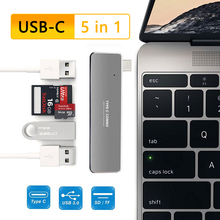 USBC Hub 5 in 1 tip C 3 port USB3.0 TF USB kart okuyucu USB C tipi c dok istasyonu dizüstü bilgisayar macbook adaptörü Pro 2017 2018